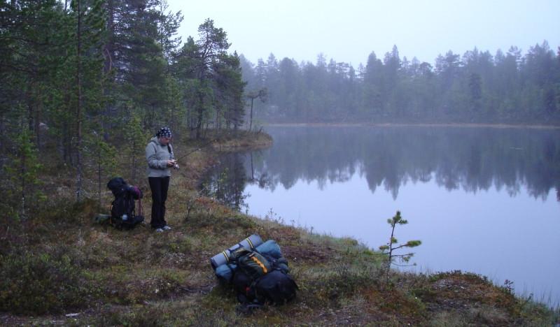 Kalastusta lammella